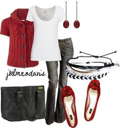 """Red, White & Black w/Maggie Bags"" by jklmnodavis on Polyvore"
