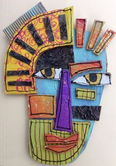 Layered cardboard art Mascara is actually a cosmetic commonly would always boos Kunst Picasso, Art Picasso, Cardboard Mask, Cardboard Sculpture, Cardboard Crafts, Portraits Cubistes, Inspiration Art, Masks Art, Assemblage Art