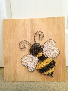 Bee String Art, Bumble Bee Wall Hanging Decor, Made to Order, Wood, Handmade by strungbybrianne on Etsy https://www.etsy.com/listing/450600076/bee-string-art-bumble-bee-wall-hanging