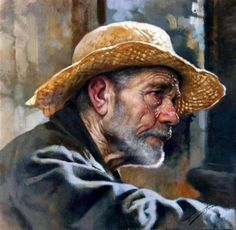 The Fisherman - Oil on canvas by contemporary Italian artist Gianni Strino