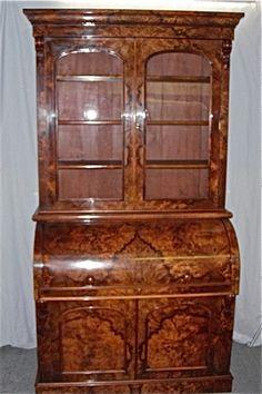 OnlineGalleries.com - Victorian Burr Walnut Rolltop Bureau Bookcase