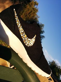 Nike roshe run leopard by CleanKickCustoms on Etsy, $125.00