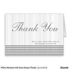 White Minimal with Gray Stripes Thank You Card