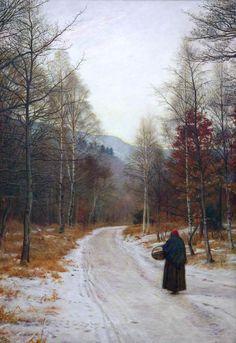 "John Everett Millais (English, b. 1829 - 1896)  "" Glen Birnam "" - Oil on canvas"
