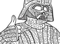 Zentangle Darth Vader Star Wars Coloring Page By PaperBro