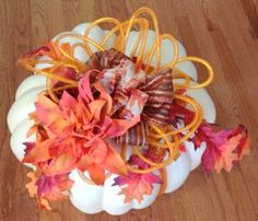 Mesh Tubing Ribbon Decorated Pumpkin  Bowdabra Blog