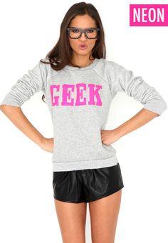 Vitaz Neon Pink Geek Sweatshirt
