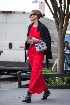 Red long hem maxi dress
