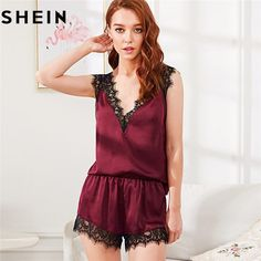 Nightwear Satin With Lace V Neck Sexy Pajama Sets Summer Sleeveless  Backless Tops   Shorts 9fe46c065