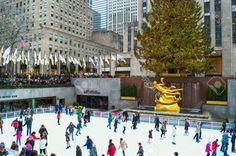 Weihnachten in New York Weihnachtsbaum Weihnachtsdekoration Rockfeller Eisbahn