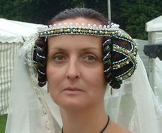 Green Velvet Crispinettes with Green Jewels and Synthetic Pearls. I love medieval headgear.