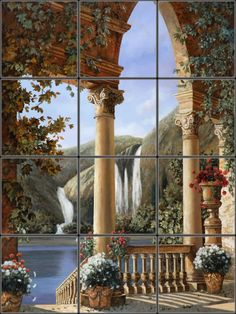 Picturesque Italian ruins and waterfall for unique kitchen wall mural