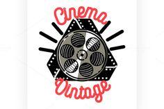 Color vintage cinema emblem by @Graphicsauthor