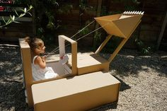 Build-your-own Cardboard Box Bulldozer (and Cardboard Box Car!) - Instructions Only Cardboard Forts, Cardboard Dollhouse, Cardboard Crafts, Cardboard Box Cars, Cardboard Furniture, Construction Birthday Parties, Construction Party, Things To Do When Bored, Creative Play