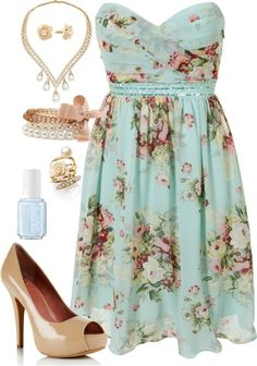 Cute, but I would get rid of the necklace and bracelet.  Not because I don't think they're pretty, but because I wouldn't want to overdress a busy print.