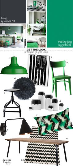 black, emerald green, mood board from Design Lovers Blog