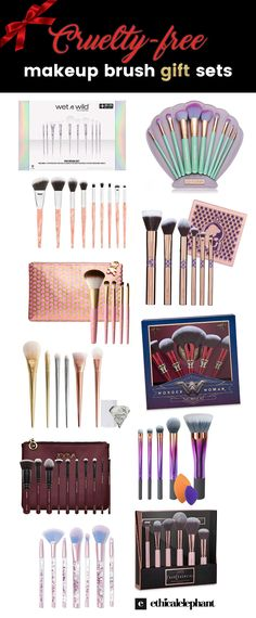 Mermaid, Wonder Woman, moving glitter, metallic, rose gold, marble.. here are some of the prettiest makeup brush gift sets! All cruelty-free!