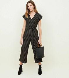 7447b37b696d New look NEW Black Stripe V-Neck Culotte Jumpsuit size 18 rrp 27.99  fashion