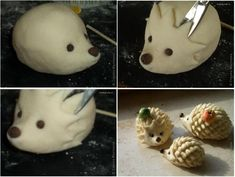 So this hedgehog was done in Fimo, but this could be done nicely in bread dough. Look how points are made! Polymer Clay Animals, Fimo Clay, Polymer Clay Projects, Salt Dough Crafts, Hedgehog Craft, Fondant Tutorial, Clay Figures, Dry Clay, Clay Tutorials