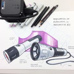 Just finished recording the rendering demo for my new online course on Sketchdrive! Just a couple of seats left before we kickoff on Monday! See the link on my profile for more info. #designsketching #idsketching #flashlight #sketch #onlinecourse #tutorial #sketchdrive