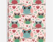 Cute Owls Notebook, Waterproof Cover, Journal, Pastel Owls…