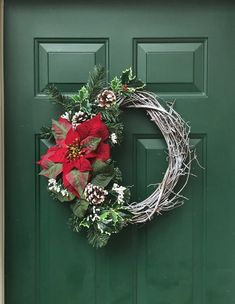 61 Ideas rustic front door wreaths pine cones for 2019 Grapevine Christmas, Christmas Front Doors, Wreaths For Front Door, Red Christmas, Door Wreaths, Grapevine Wreath, Christmas Ideas, Holiday Wreaths, Christmas Decorations
