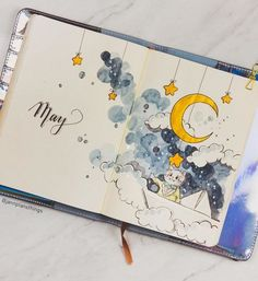 I was struggling this month with creativity, so I decided to do a theme that made me happy :D - so introducing, Humphrey's… Bullet Journal Cover Ideas, Bullet Journal Lettering Ideas, Bullet Journal Notebook, Bullet Journal School, Art Journal Pages, Art Journals, Bullet Journal Month Page, Notebook Art, Drawing Journal