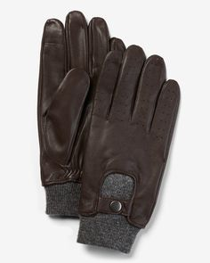 Genuine Leather Touchscreen Compatible Gloves Men's Accessories, Pitch, Gloves, Handsome, Warm, Brown, Leather, Color, Black