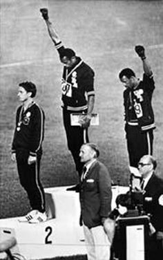 1968 Summer Olympic games hosted by Mexico; Tommie Smith and John Carlos did the Black Power salute,  which was a notable sign of black power protest. <^ I get CHILLS, everytime I see this. #allpowertothepeople
