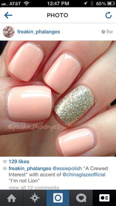 Essie a crewed interest polish with sparkly accent nail!