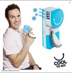 climatiseur mobile à main bleu