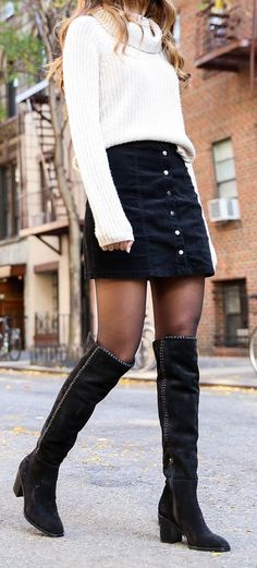 #winter #outfits white sweater and black denim skirt outfit