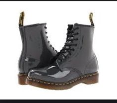 Dr Martens Uk 9 US Mens 9.5 Womens 11 Grey 1460 Patent Leather Boots NEW RT$130 #drmartens #boots
