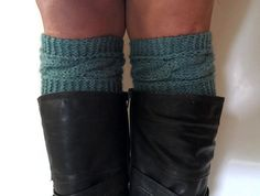 Dark Aqua Thirst Heather Boot Cuffs Cable Knit by MadebyMegShop $25 #bootcuffs #bootsocks #boottoppers #blue #cableknit #bootliners