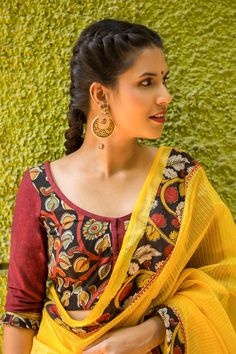Buy Designer Blouses online, Custom Design Blouses, Ready Made Blouses, Saree Blouse patterns at our online shop House of Blouse from India. Kalamkari Designs, Choli Designs, Saree Blouse Patterns, Saree Blouse Designs, Saree Hairstyles, Stylish Sarees, Traditional Fashion, Beautiful Blouses, Indian Fashion
