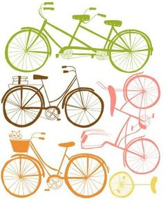 Multi-coloured bicycle print