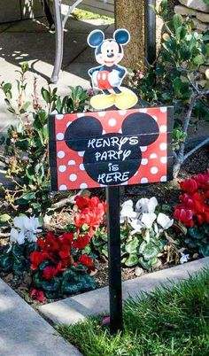 Party is here sign - DIY Mickey Mouse First Birthday party...where to get everything and how to put it together! Lots more Inspiration pics, dessert table, kids table, etc. on blog! #mickeymouse #birthdaypartyideas #mickeymouseparty #mickeyparty #partysig Birthday Table, Diy Birthday, First Birthday Parties, Birthday Party Themes, First Birthdays, Birthday Cakes, Birthday Ideas, Mickey Mouse First Birthday, Mickey Party