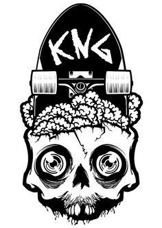 Great skull-meets-skateboard illustration. Graffiti Art, Skate Art, Design Graphique, Skull Design, Skateboard Art, Skull And Bones, Oeuvre D'art, Illustrations Posters, Vector Art