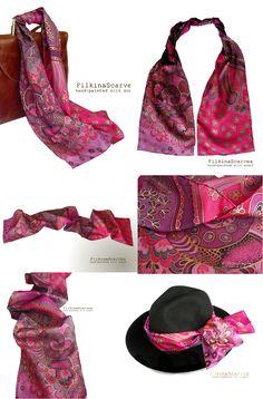 @FilkinaScarves on Etsy . Narrow scarf, Hand Painted silk , painted silk scarf, pink scarf, Silk Neck scarf,Hand scarf, Hat ikarf,Summer scarf, Hair Band, Twilly scarf, Bag Scarf, Trendy, Headband, Bags Scarf ,Decoration