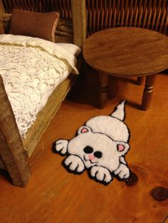 White Cat Doll Throw Rug ~ Punch Needle Embroidered Pink Nosed Kitty Carpet for Your Doll House ~ Small Scale Miniature Cottage Home Decor
