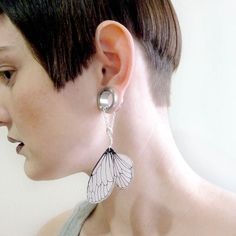 Cicada wing dangle earrings for stretched earlobes by horseflesh, $17.00