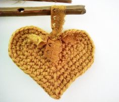 PDF PATTERN Crocheted Heart Coaster Home Decoration. $3.99, via Etsy.