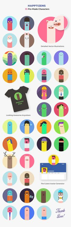 Have a look at this Happtizens Character Creator Set, with the combination of minimalistic design and great performance, these vectors are ideal for you to design any project. Cartoon Character Creator, Free Cartoons, Just Amazing, Icon Set, Digital Illustration, Icon Design, Vector Art, Create Yourself, The Creator