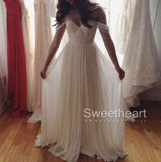 White A-line Sweetheart Chiffon Long Prom Dress,Formal Dress #prom #promdress #formaldress