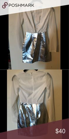 Dress White and metallic colored dress  Long sleeves Rare London Dresses High Low