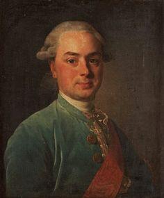 Porträtt av rysk greve, förmodligen Greve Schuwaloff. Signerad Le Chav Roslin och daterad 1776. Uppfodrad duk 61 x 51 cm. Samtida förgylld och bronserad ram.