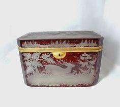 Antique BOHEMIAN Moser Ruby GLASS Casket Box Unusual LARGE Size by PremierAntiquesNY on Etsy https://www.etsy.com/listing/211568853/antique-bohemian-moser-ruby-glass-casket