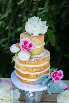 Naked Cake from a Modern Monochromatic Mermaid Party via Kara's Party Ideas KarasPartyIdeas.com (35)