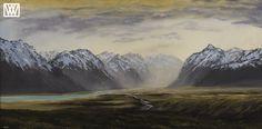Godley Valley Original Oil Landscape Painting, by Wayne Vickers Artist, New Zealand Landscape Paintings, New Zealand, Oil, Mountains, Artist, Nature, Travel, Beautiful, Viajes