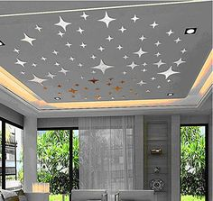 Wonderpark Wall Decoration Bling-bling Stars DIY Acrylic Removable Decorative Mirror Surface Crystal Wall Stickers Home Decal Room Murals Wall Paper Decor Gift 43 PCS (Golden) *** Tried it! Click the image. : DIY : Do It Yourself Today Mirror Wall Stickers, Wall Stickers Murals, Wall Murals, Wall Decal, Mirror Decal, Wall Stickers Home Decor, Diy Home Decor Living Room, Home Decor Wall Art, Bedroom Decor